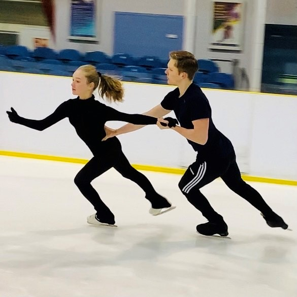 Ice Dancers training with ISL Coaches Marika & Vitaliy Baranov at Lee Valley Ice Centre in London.