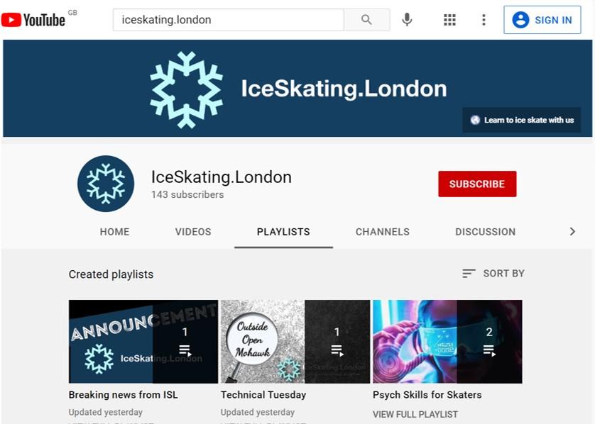 Screenshot of IceSkating.London YouTube HomePage