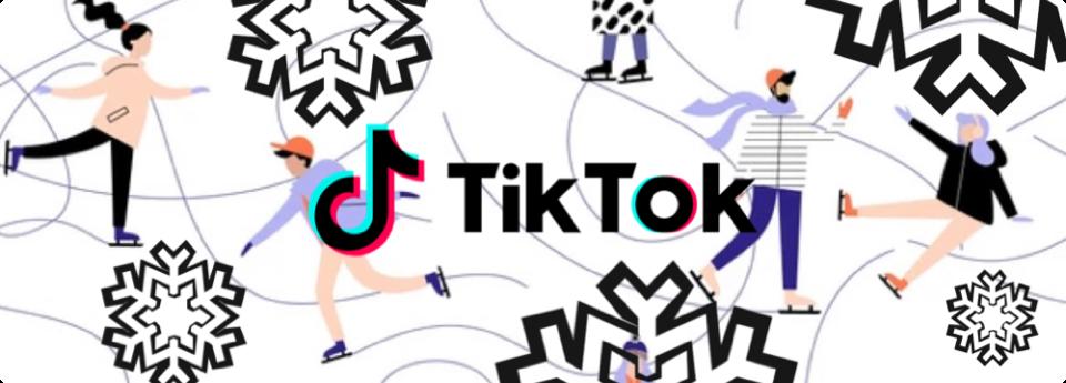 People ice skating around TikTok Logo
